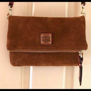 Brown suede Dooney and Bourke crossbody bag